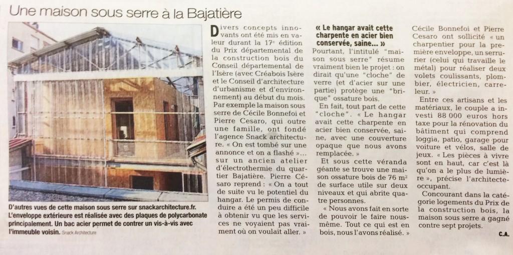 Article Dauphiné Maison sous serre
