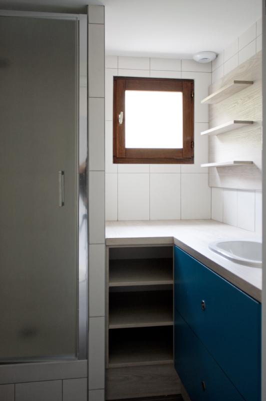 réhabilitation d'un appartement - grenoble - snackarchitecture - cuisine- salle de bain-verrière bois